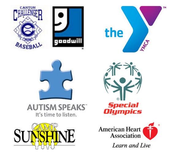 Sponsored Programs of Questar including Canton Challenger baseball, YMCA, Autism Speaks, Special Olympics, Camp Sunshine, and The American Hear Association