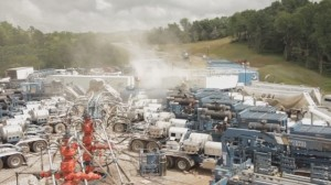 Fracking waste being produced from horizontal drilling.